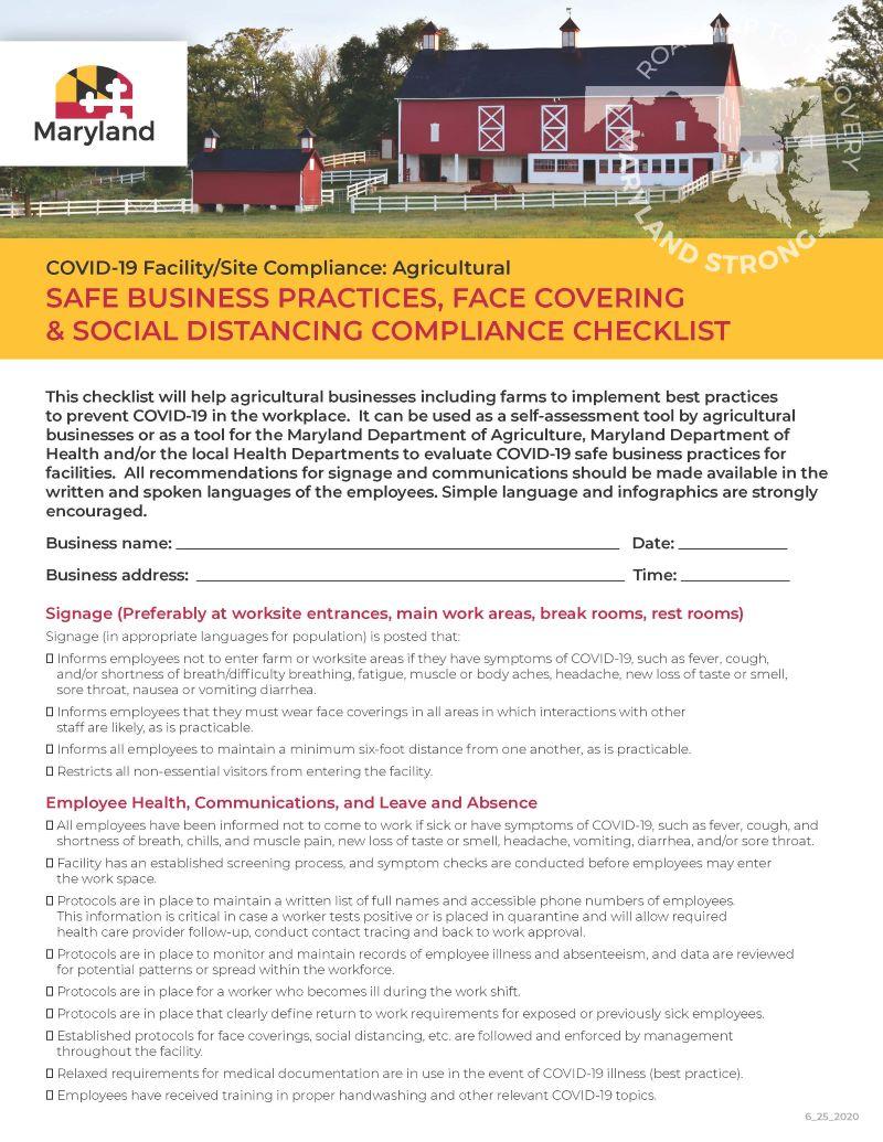 COVID 19 Business checklist