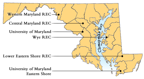 map of Maryland with research locations identified
